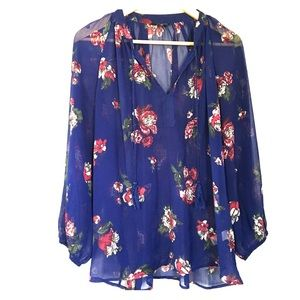 Lucky Brand semi-sheer floral blouse Size XL